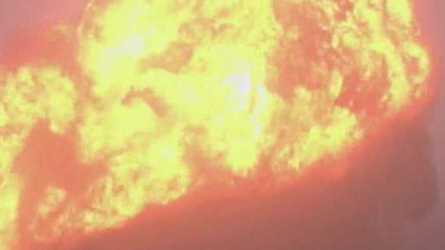 Raw: Large Flames Near WV Train Derailment