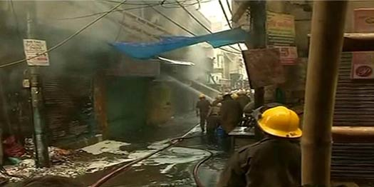 Fire at Large Cloth Market in Delhi's Gandhi Nagar