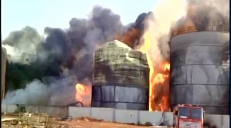 Massive fire ravages bio-diesel factory near Vizag, 40 fire tenders at the spot