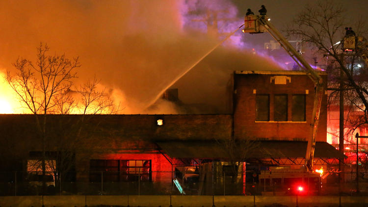 Fire destroys industrial building that housed maker of chemicals for extinguishers