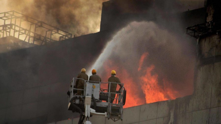 Massive fire breaks out at Pearls Business Park building in west Delhi